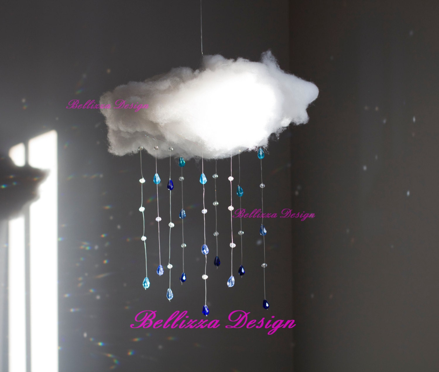 Shower Me With Love Cloud Rain Drops Crystals Blue Crystal