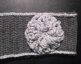 Crochet gray headwrap/earwarmer with flower