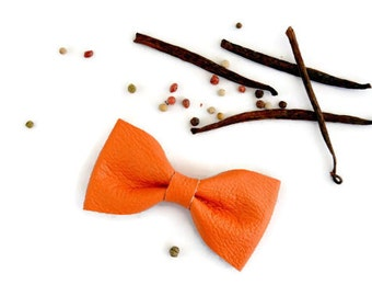 Orange leather hair bow / Leather bow clip / Hair accessories for children / Orange genuine leather