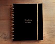 Personalized custom notebook sketchbook blank journal diary black