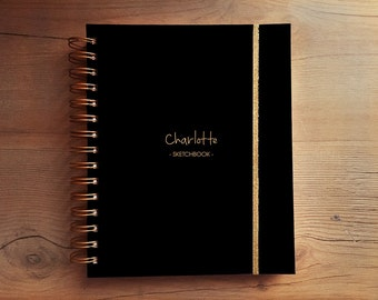 Personalized custom notebook sketchbook blank lined paper journal diary black hard cover
