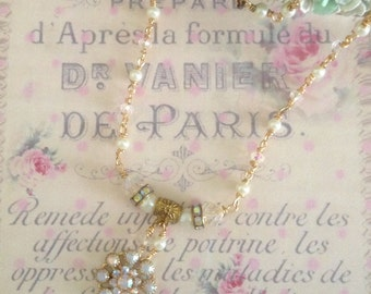 sparkly handmade necklace with swarovski crystals and glass pearls shabby chic no.1142