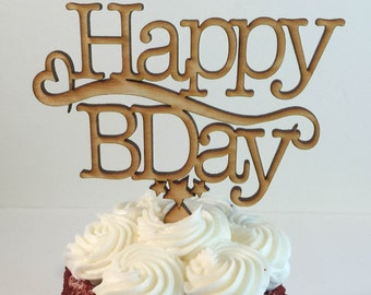 Happy Birthday Cupcake and Cake Toppers - Wooden Cupcake Topper with Heart