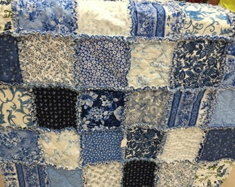 Blue and White Crib Rag Quilt