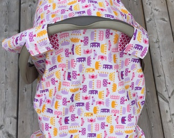 2-in-1 Reversible Carseat Canopy and Blanket. Baby Girl Princess Crowns in Pink or Purple