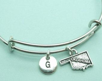 Oklahoma charm bangle bracelet, personalised initial bangle, letter, personalised charm,