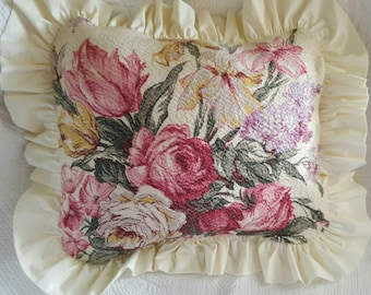 Vintage Barkcloth Rose Throw Pillow Cover