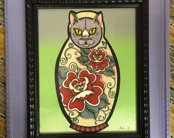 Hand painted Nesting doll cat hanging artwork