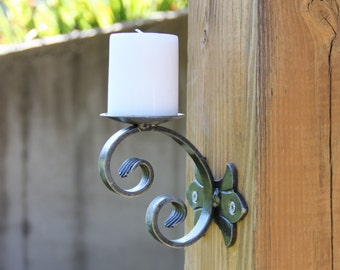 Scrolled Iron Wall Scone Candle Holder