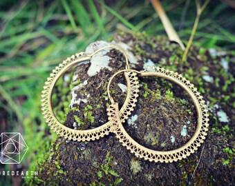 Gypsy Hoops Statement Earrings, Sacred Geometry, Brass Jewelry, Tribal Earrings, Indian Jewelry, Bohemian Jewelry, Yoga Jewelry
