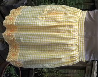 Yellow Gingham Vintage Apron