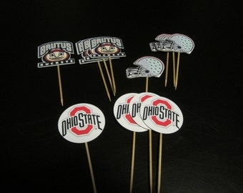 Cupcake toppers, party supplies, Ohio State Buckeyes, football