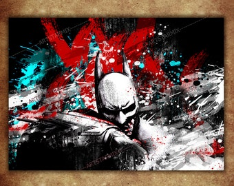 Watercolor Batman Digital Art Print, Batman Poster, Dark Knight Poster download, Dark Knight 11 x 16 watercolor digital poster A-02