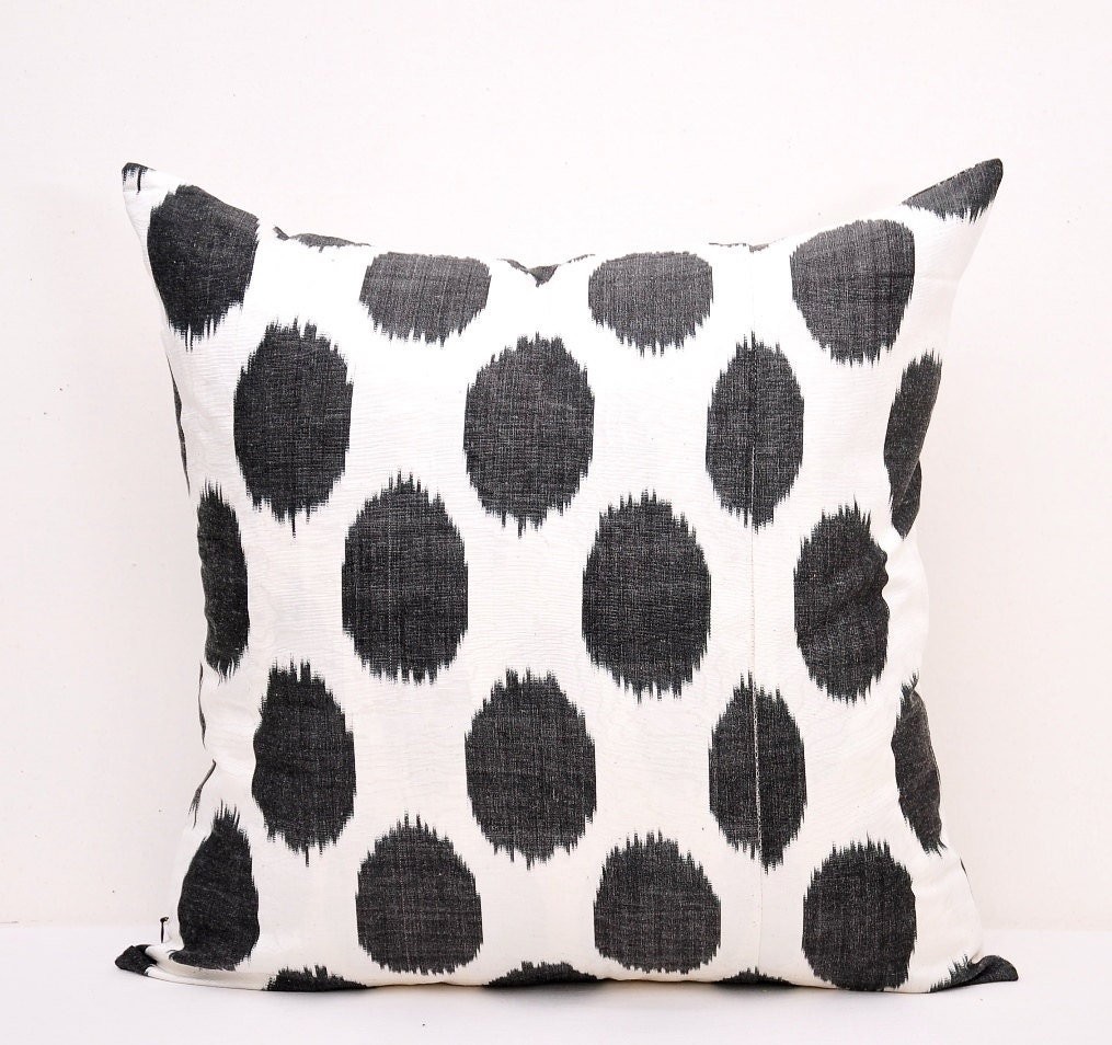 Black White Ikat Pillow Ikat Pillows Ikat cushion Polka Dot