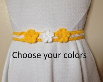 Belt with Flowers,  Crochet Belt, Many Colors Available