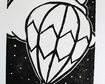 Hot Air Balloon at Night Linocut Print