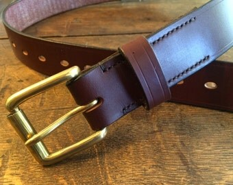 "Traditional Handmade Leather Belt SIZE 34"" / Australian Nut Brown"