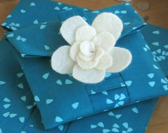Organic Fabric Pouch - Cloud 9 Petal Turquoise. Reusable Fabric Gift Wrap. Small, Medium & Large sizes available.