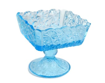 Square LG Wright Glass Daisy and Button Light Blue Footed Sherbet / Champagne  -  Antique Glassware - 1950s Vintage