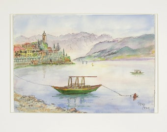 ORIGINAL painting, watercolor and ink, China, water, lake, boats, city, scenic, gift art, 18x24/mounted 22x28
