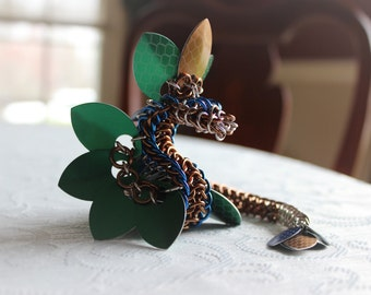 Green and Blue Chainmail Dragon Bracelet Sculpture