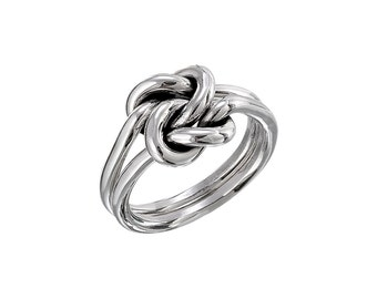 Sterling Silver Handmade Separate Double Knot Ring, Sailor Knot, Love Knot, Friendship Knot, Promise Ring