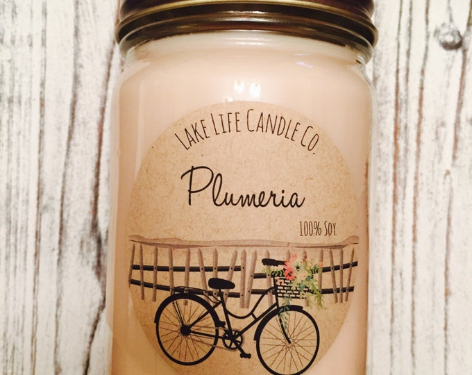 Market Collection: Plumeria Handmade Soy Candle,  Lake Life Candle Co.