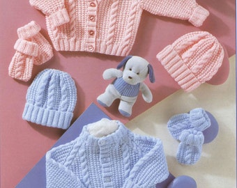 PDF Knitting Pattern - Baby's Cardigans Hat and Mittens 12-22 Chests - Instant Download