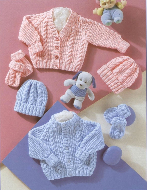 Knitting Pattern For Baby Hat And Mittens : PDF Knitting Pattern Babys Cardigans Hat and Mittens