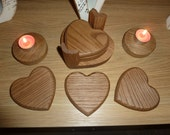 6 Solid Oak Rustic Heart Coasters and Matching Holder