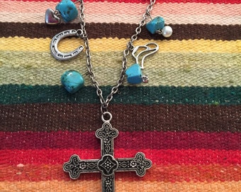 Western cross charm necklace