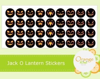 Jack O Lantern Stickers - Halloween Pumpkin Stickers - Scary Pumpkin Faces - Jack O Lantern Party Favor Stickers - Planner Stickers
