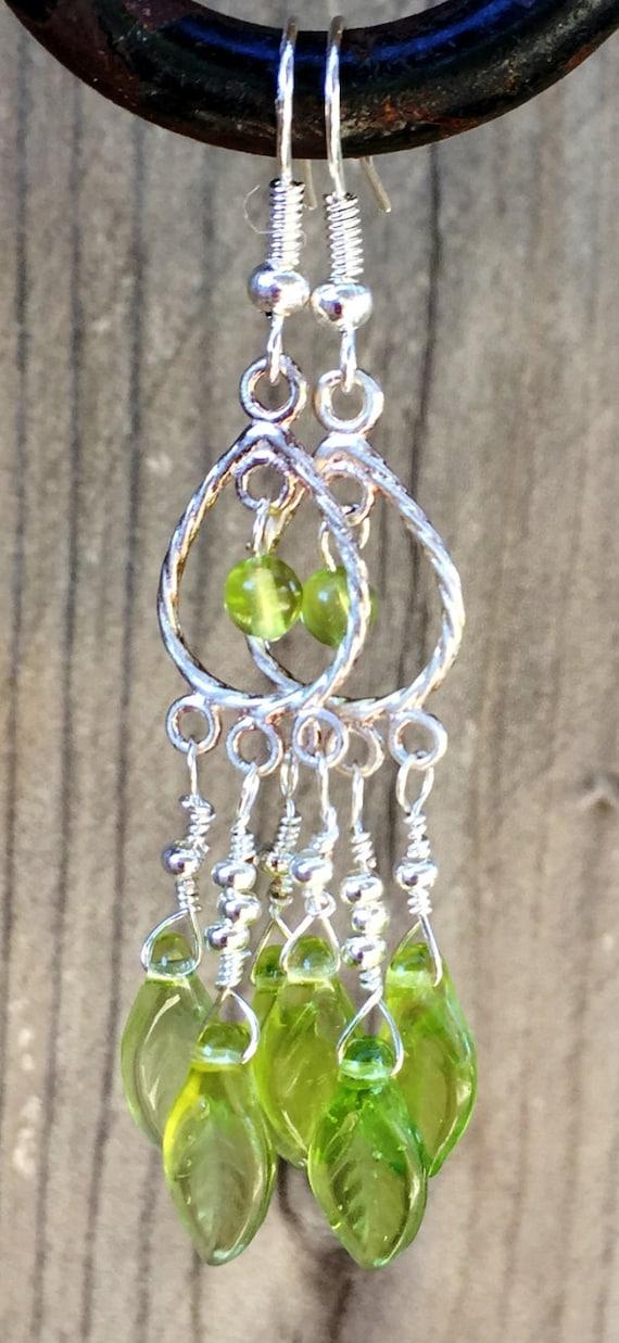 Tiny Green Leaf Chandelier Earrings