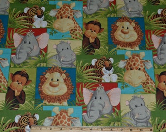 JUNGLE BABIES FABRIC! By The Half Yard For Quilting / Animals / Monkey - Elephant - Giraffe