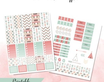 Mint and Coral Geometric and Arrow Happy Planner Printable Stickers