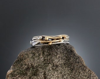 Sterling Silver and Gold Vine Ring - Mixed Metal - Twig Ring - Gold Accent - 14k Gold Ring - Silver Ring - Vine Jewelry - Sherry Tinsman