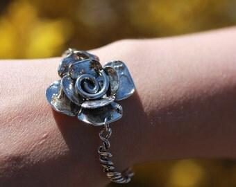 Sterling Silver Flower Bracelet - Large Flower - Spiral Bracelet - Cuff - Vine Bracelet - Wrapped Bracelet - Fitted - Sherry Tinsman