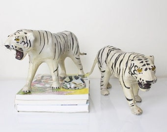 Vintage retro Boho white tiger statues sculptures hand painted leather set of 2 figurines jungle theme