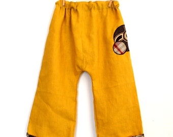 Yellow linen harem pants mustard and wax
