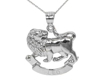 14k White Gold Leo Necklace