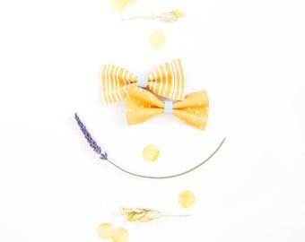 Baby Leather Hair Bow Crocodile Clip/Nylon Headband White Stripes & Dots Yellow Bow Adult Bow, Little Girl Bow, Newborn Bows, Soft Nylon Bow