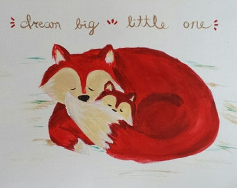 Mom and baby red fox wall art