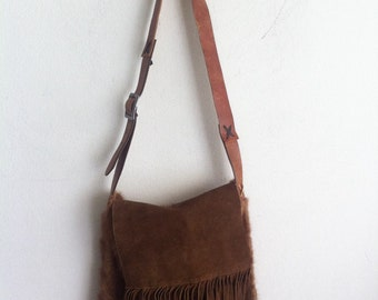 Fringe fur bag , real mink shoulder bag , womens size medium.