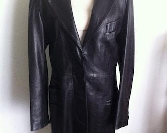 Amazing women's jacket from real leather genuine and smooth leather steep jacket vintage style long old jacket black jacket has size-medium.