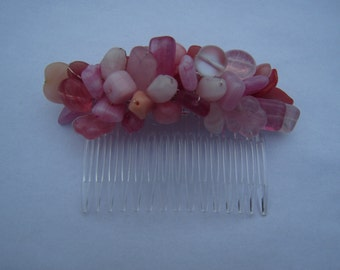 Decorative mixed pink glass beaded hair comb for weddings and proms
