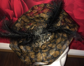 Large leopard print rose Fascinator