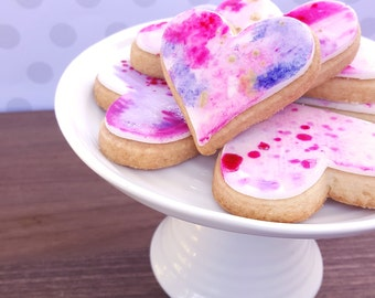 Gold Speckled Watercolor Hearts Cookies