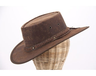 Real Australian Kangaroo Leather Hat. Original Barmah Hat-in-a-Bag. Made in Australia. Hickory Color