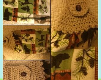 Bear, deer, moose and pine cones crochet top kitchen towel