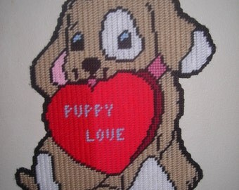 Puppy Love Handcrafted Wall Hanging  plastic canvas